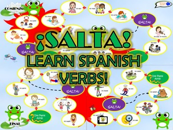 ¡SALTA! Board game to learn essential SPANISH VERBS! (PRINT & PLAY!)