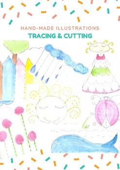(SAMPLE) Tracing&Cutting practice ! (HANDMADE ILLUSTRATIONS)