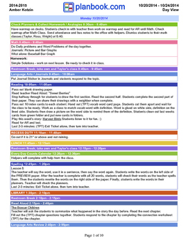 *SAMPLE* Weekly Lesson Plans