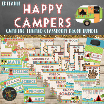 Camping Classroom Theme Decor Bundle Editable