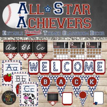Baseball Classroom Theme Decor Bundle - Editable