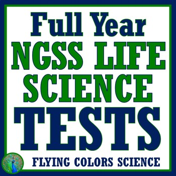 **SAVE 25%** Full Year NGSS Middle School Life Science Biology Test BUNDLE