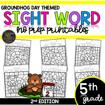 Color by Sight Word   Groundhog Day   Fifth Grade High Frequency Sight Words