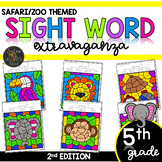 Color by Sight Word | Safari | Zoo Activities | Fifth Grade Sight Words