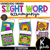 Color by Sight Word | Safari | Zoo Activities | Kindergart
