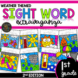 Color by Sight Word | Weather Activities | First Grade Sig