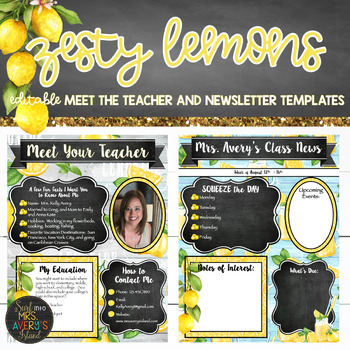 Lemon Classroom Decor Meet the Teacher and Newsletter - EDITABLE