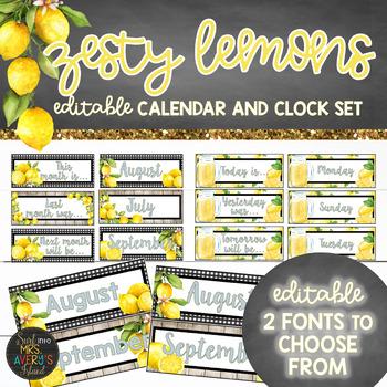 Lemon Theme Classroom Decor Calendar and Clock Set - EDITABLE