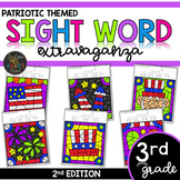 Third Grade Color by Code Sight Words Patriotic | Memorial Day | 4th of July