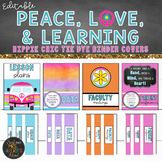 Tie Dye Hippie Chic Theme Binder Covers and Spines EDITABLE
