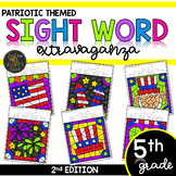 Fifth Grade Color by Code Sight Words Patriotic | Memorial Day | 4th of July