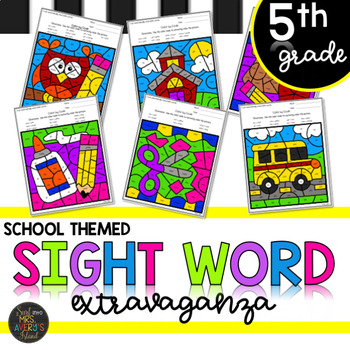 Back to School Themed Fifth Grade Sight Words Color by Code