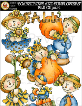 """""""SCARECROWS AND SUNFLOWERS"""" Fall Clipart [Marie Cole Clipart]"""