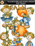 """SCARECROWS AND SUNFLOWERS"" Fall Clipart [Marie Cole Clipart]"