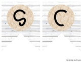 """""""SCIENCE"""" White Wood / Shiplap and Burlap Lace: Focus Wall"""