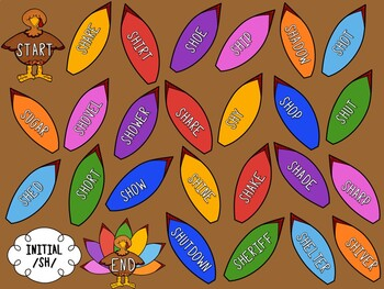 /SH/ Articulation Board Games - Thanksgiving Theme