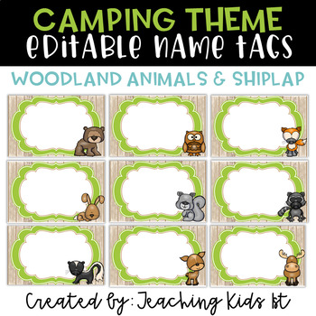 {SHIPLAP Woodland Animals/Camping Theme} Editable Name Tag Labels
