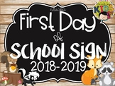 {SHIPLAP Woodland Animals/Camping Theme} First Day of School Sign EDITABLE