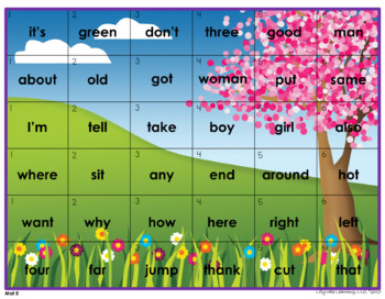 """""""SIGHT WORD 4-in-a ROW"""" from LilyVale Learning"""