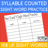 {SIGHT WORD SPELLING SHEETS} {SIGHT WORDS SYLLABLES} {UK SIGHT WORDS}