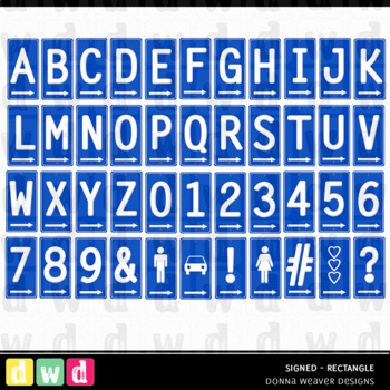 Alphabet SIGNED RECTANGLE BLUE Letters Numbers Printable Clip Art