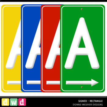 Alphabet SIGNED RECTANGLE BUNDLE Sign Letters Numbers Printable Clip Art