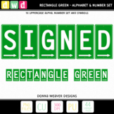 Alphabet SIGNED RECTANGLE GREEN Letters Numbers Printable Clip Art