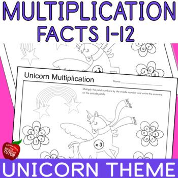 {SINGLE DIGIT MULTIPLICATION FACTS WORKSHEETS} {UNICORN  THEME}