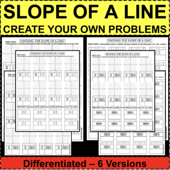 SLOPE OF A LINE Linear Equations DIFFERENTIATED with 6 Versions!