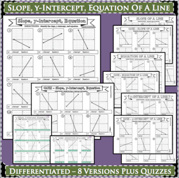 SLOPE y-Intercept Equation of Line Linear Equations DIFFERENTIATED 8 Versions