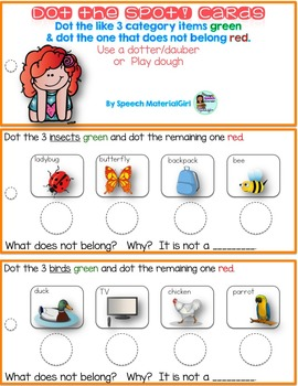 Speech Therapy Dot the Spot Category Sort Task Not belong why dauber fun