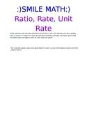 :)SMILE MATH:) - Ratio, Rate, Unit Rate Notes
