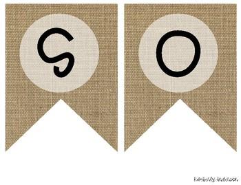 """SOCIAL STUDIES"" Farmhouse Burlap Focus Wall Pennant / Banner"