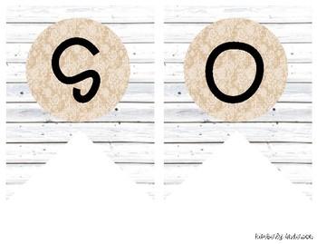 """SOCIAL STUDIES"" White Wood / Shiplap & Burlap Lace: Focus Wall Pennant / Banner"