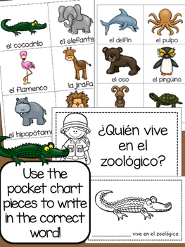 {SPANISH} At the Zoo - Interactive Emergent Readers Duo