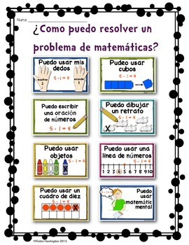 *SPANISH* Solving Math Problems {Subtraction Posters for Subtraction}