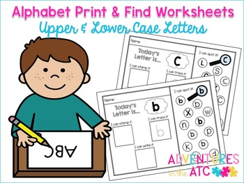 Alphabet Print and Find Workheets