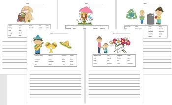 *SPRING* Writing Sentences with word bank- Creative Writing {EDITABLE}- Seasons