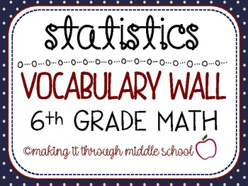 {STATISTICS} Unit Vocabulary Wall