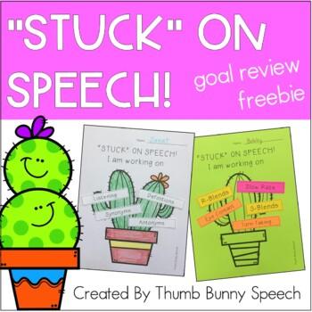"""""""STUCK"""" on Speech - Speech/Language Goal Review Freebie"""