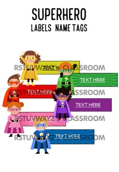 [SUPER HEROES THEME] Name Tags - Labels - Class Decor | EDITABLE