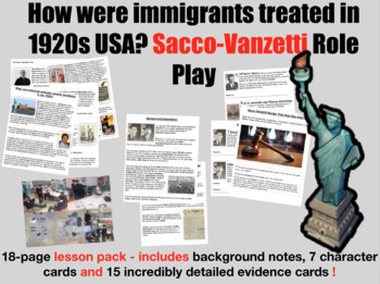 Sacco-Vanzetti Trial & Evidence - 18 page lesson pack