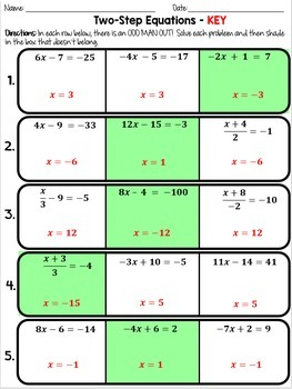 Two Step Equations - Odd Man Out
