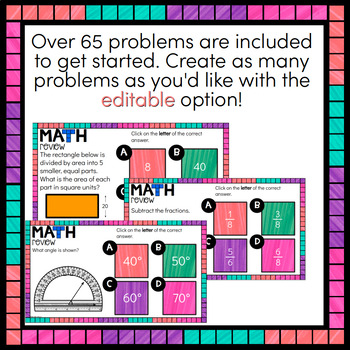 4th Grade Math - Digital & EDITABLE for practice, test prep, review