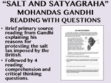 """""""Salt and Satyagraha"""" reading with questions - Mohandas Gandhi"""