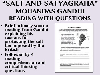 """Salt and Satyagraha"" reading with questions - Mohandas Gandhi"