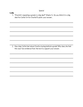 """""""Same But Different""""- Chapter-by-Chapter Reading Comprehension Questions"""