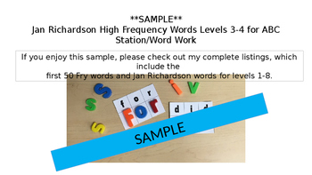 *Sample* ABC Station/Word Work Jan Richardson High Frequency Words Levels 1-2