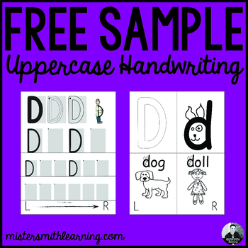 *Free Sample* Uppercase Handwriting Pages- Mister Smith Learning (double sided)