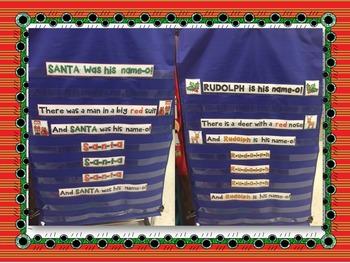 """""""Santa/Rudolph is his name-o!""""  pocket chart song"""